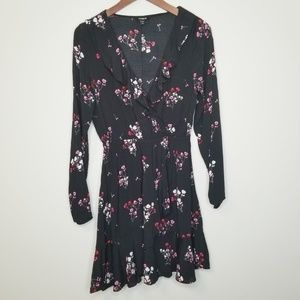 Express | Ruffled Floral Print Mini Dress S